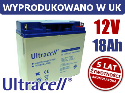 AKUMULATOR ZELOWY 12V 18Ah ULTRACELL LIMITED 1461