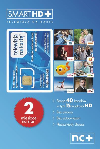 KARTA STARTOWA SMART HD+ 40 KANAŁÓW, 15 KANAŁÓW HD