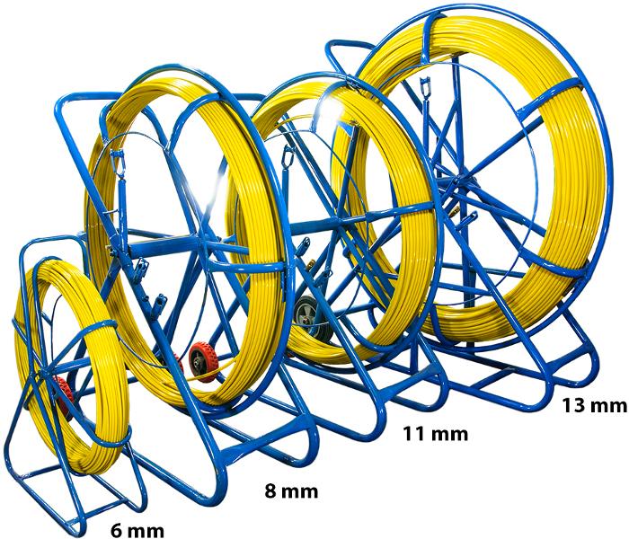 Włókno szklane do przeciągania kabli  6mm / 150m (Pilot/Stalka) PE + Stojak