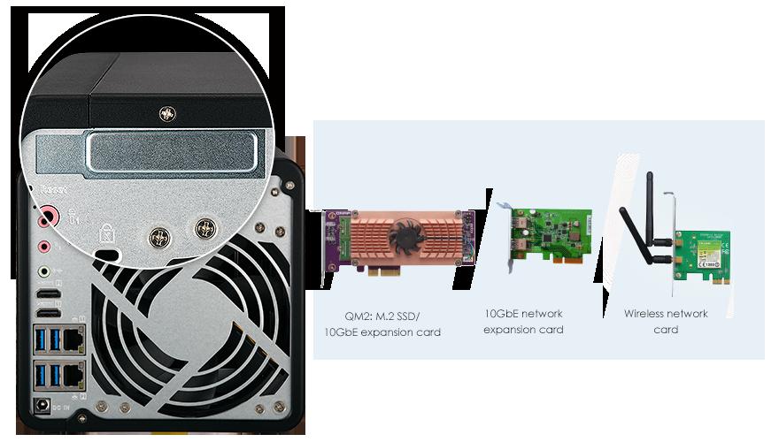 Gniazdo PCIe do rozszerzania możliwości serwera NAS