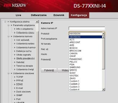 Wsparcie dla kamer IP różnych producentów