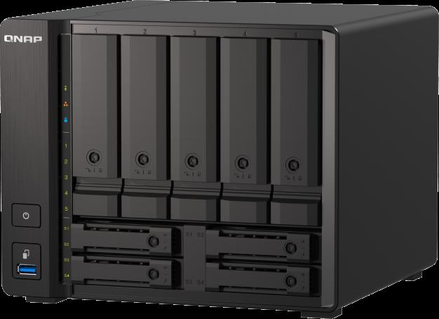 Możliwość zwiększenia wydajności biznesowej za pomocą czterordzeniowego, 9-wnękowego serwera NAS