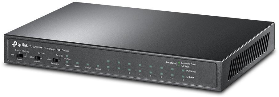 Przełącznik stworzony do wielu zastosowań — 8 portów PoE+ o łącznej mocy 124 W