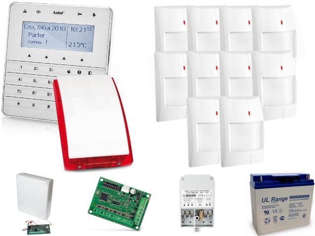 KOMPLETNY ZESTAW ALARMOWY OPARTY O SYSTEM SATEL INTEGRA 128-WRL, 10 CZUJEK GRAPHITE, SYGNALIZATOR SP-4003