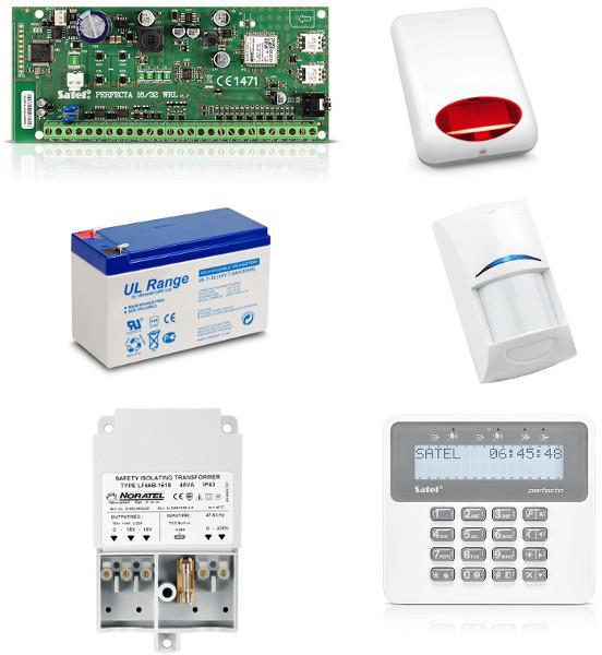Zestaw alarmowy SATEL PERFECTA 16 Klawiatura LCD, 1 czujnik ruchu, sygnalizator zewnętrzny, powiadomienie GSM
