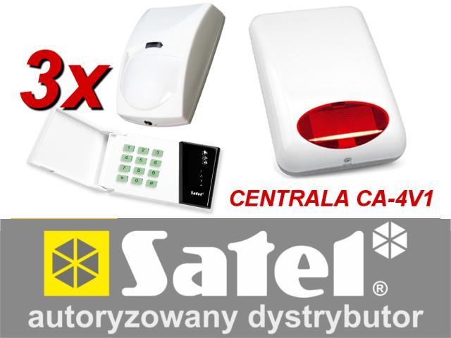 KOMPLETNY ZESTAW ALARMOWY OPARTY O SYSTEM SATEL CENTRALA ALARMOWA CA-4V1, SYGNALIZATOR SPL-5010, 3 CZUJNIKI
