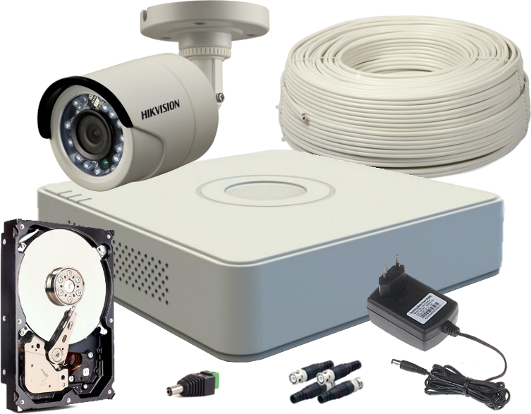 ZESTAW HD-TVI 1 x KAMERA FULLHD, REJESTRATOR 4CH + DYSK 500GB
