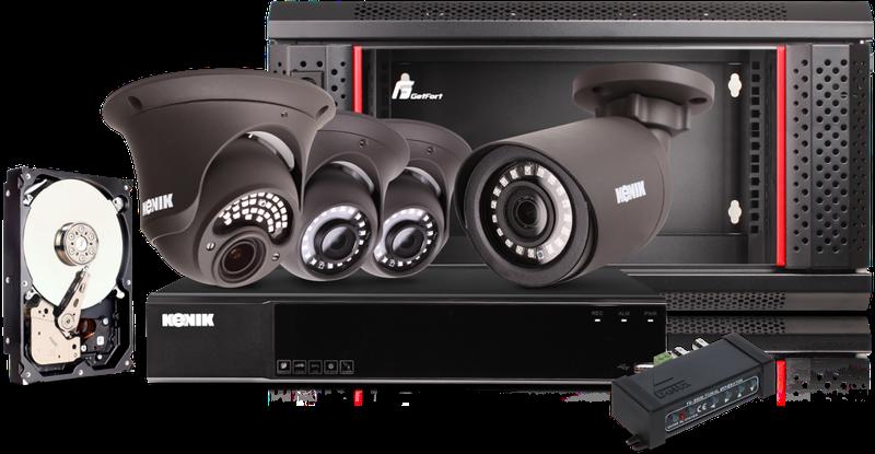 Profesjonalny system monitoringu Kenik - 4 kamery, Dysk 4TB, Szafa Rack, Akcesoria
