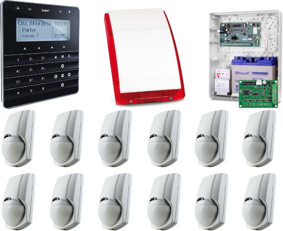 KOMPLETNY ZESTAW ALARMOWY OPARTY O SYSTEM SATEL CENTRALA INTEGRA 128,  12x CZUJNIK RUCHU DSC LC-100-PI
