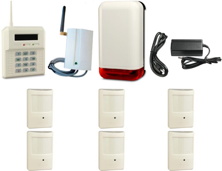 BEZPRZEWODOWY ZESTAW ALARMOWY  ELMES, 6 x CZUJNIK, GSM, SYGNALIZATOR
