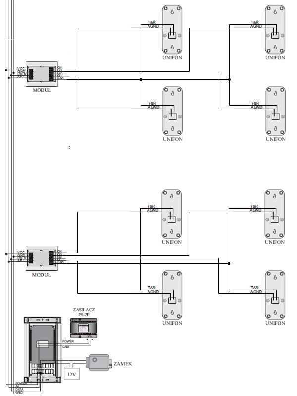 Przykładowy schemat połączenia domofonu WL-03NL