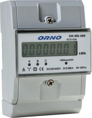 LICZNIK ENERGII ELEKTRYCZNEJ ORNO WE-505 3 FAZOWY 1 KLASA DOKŁADNOŚCI ZAPLOMBOWANY, IEC61036
