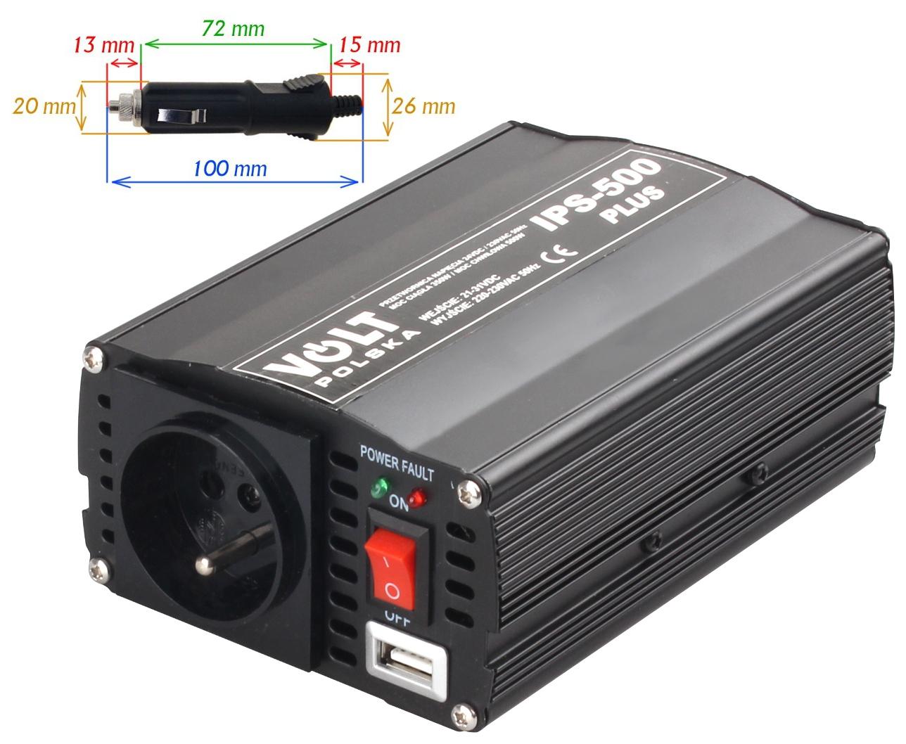 PRZETWORNICA IPS-500 PLUS 24V / 230V 350/500W