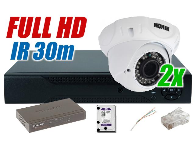 ZESTAW MONITORINGU IP  FULL HD  2MPIX DO DOMU