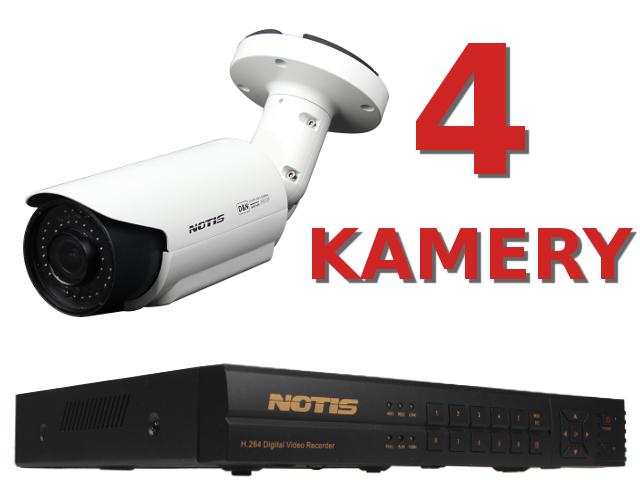 KOMPLETNY ZESTAW DO MONITORINGU OPARTY O REJESTRATOR NOTIS  4CH FULL WD1 HDMI, 4XAUDIO