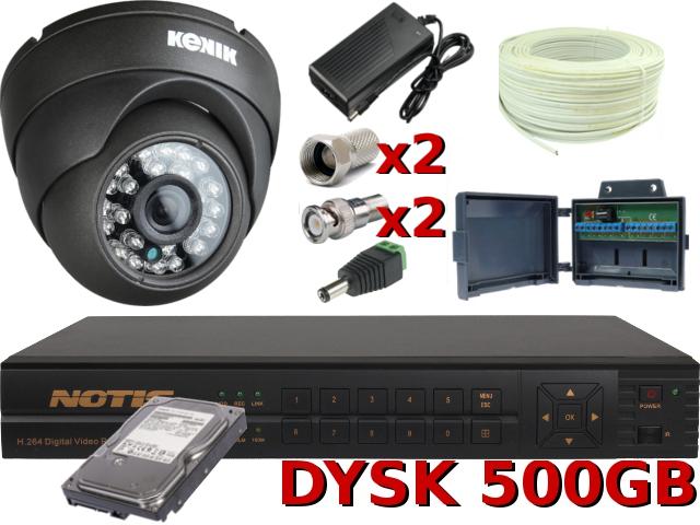 KOMPLETNY ZESTAW DO MONITORINGU OPARTY O REJESTRATOR BCS 0401QE 25KL/SEK NA WSZYSTKICH KANAŁACH, USB, PILOT IR