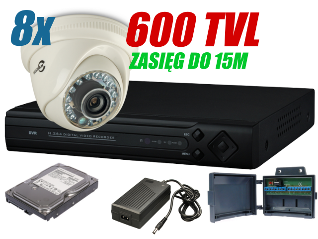 ZESTAW DO MONITORINGU  8x 600TVL