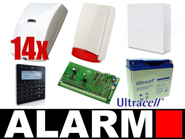 KOMPLETNY ZESTAW ALARMOWY OPARTY O SYSTEM SATEL CENTRALA ALARMOWA INTEGRA 64,  SYGNALIZATOR BE-F650 RED