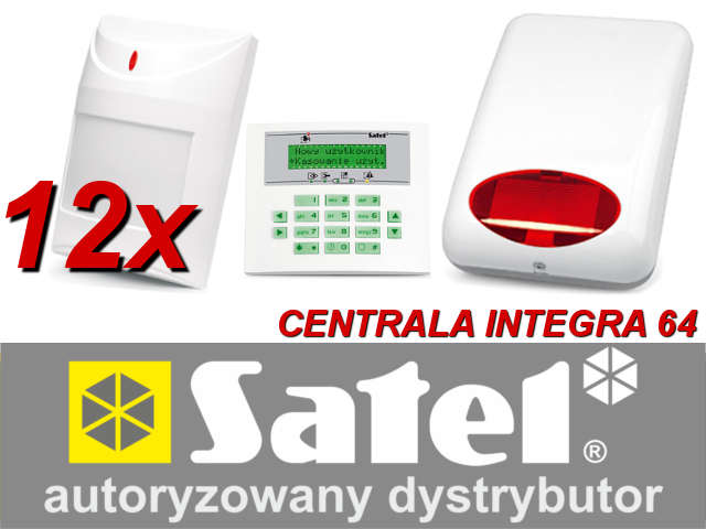 KOMPLETNY ZESTAW ALARMOWY OPARTY O SYSTEM SATEL CENTRALA INTEGRA 64, 12 CZUJEK AQUA PET, SYGNALIZATOR SPL-5010