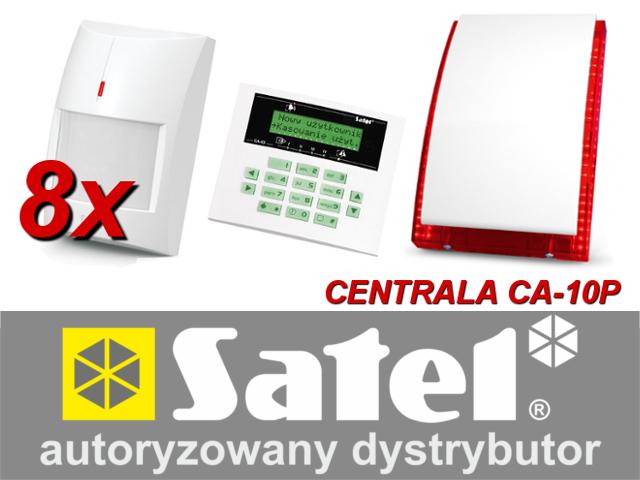 KOMPLETNY ZESTAW ALARMOWY OPARTY O SYSTEM SATEL CENTRALA CA-10P, 8 CZUJNIKÓW GRAPHITE, SYGNALIZATOR SP-4003